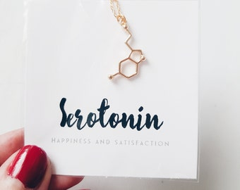 Gold Serotonin Chemical Structure Necklace | Serotonin DNA | Neurotransmitter |  Silver Tone | Science | Cool