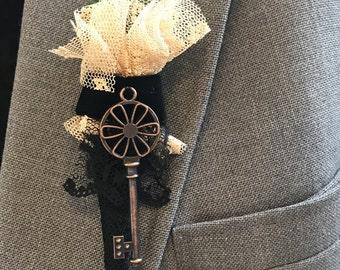 Steampunk Edwardian Victorian Great Gatsby Wedding Boutonniere Antique Bronze Key Groom Groomsman