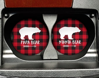 Mama Bear Papa Bear Car Coasters - Matching Set of Car Coasters Buffalo Plaid
