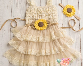 lace flower girl dress-rustic flower girl dress- lace girls dress- lace baby dress- Burlap wedding dress- country flower girl- girls dress