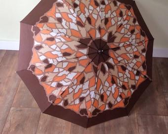 Retro/Vintage Orange Umbrella with Holder
