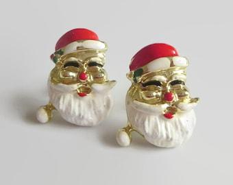 Santa Earrings, Vintage, Red & White Enamel Santa Claus, Holiday Jewelry, Jolly Fun!
