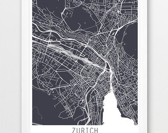 Zurich map etsy for Home decor zurich