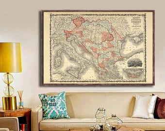 "1862 Johnson's Austria Turkey Greece Vintage map reprint -4 large/XL sizes up to 54"" x 36"" -in 3 three colors"