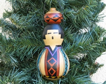 Southwestern Hand-painted Bottle Gourd Christmas Ornament with Miniature Pot Southwest Pottery Inspired #240