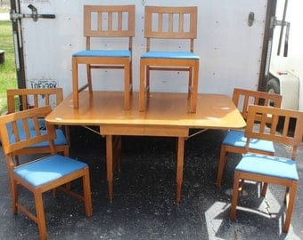 Mid Century drop leaf table & 6 chairs