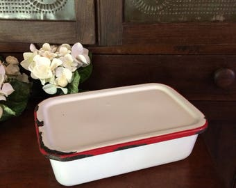 Enamel refrigerator dish pan with lid red and white