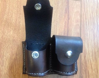 Custom leather double speed loader pouch