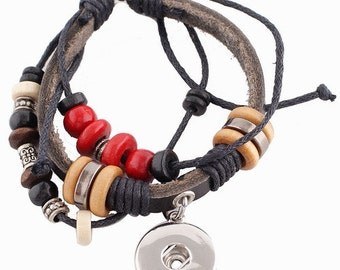 KC0238  Layered Black Boho Leather Bracelet for Snaps Accented with Beads