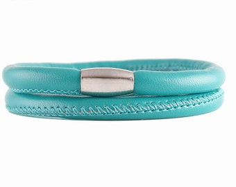 """15"""" Double Turquoise Wrap Faux Leather/Vegan Friendly Charm Bracelet w/Magnetic Closure - Can Be Used as a Choker"""