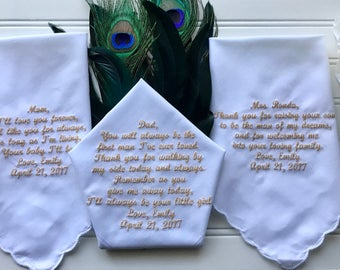 Set of 3 personalized handkerchiefs