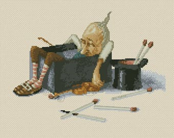 Cross Stitch Chart Gnome Sleeping in the Matchbox - Art of Jean-Baptiste Monge