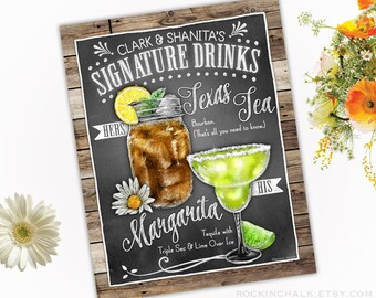 Rustic Wedding Decoration | Signature Drink Sign - DUAL DRINKS - Personalized  Weddings, Parties, Events - Made to Order - All Custom