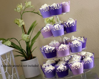 Purple Ombre Mr & Mrs Cupcake Wrappers Kit, 32pcs