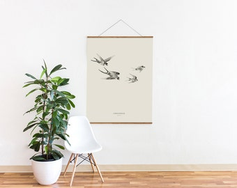 "Swallow Illustration Birds – Big Art Print – Multiple sizes available  8"" x 10"" / 12"" x 18"" / 24"" x 36"""