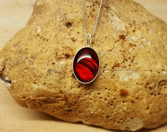 Sterling silver red Abalone pendant. Red Paua shell necklace. Reiki jewelry uk. Small oval necklace 14x10mm