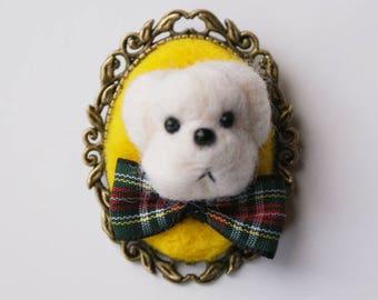 Dog Brooch - Poodle Brooch - Needle Felted Dog - Dog Brooch - White Dog - Merino Wool - Tartan Ribbon - Oval Brooch - Yellow -Doggy - Cameo