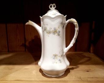 Antique French Porcelain Chocolate Pot, Lanternier, Limoges