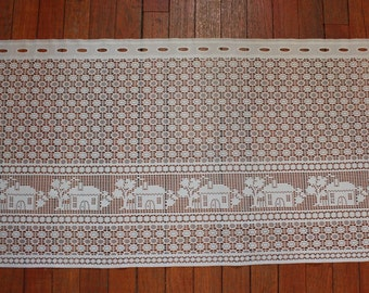 "Vintage Lace Curtain with Houses 39.5"" x 20"""