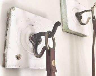Vintage Bullseye Architectural Salvage Piece with Optional Vintage Hook - Plinth Block