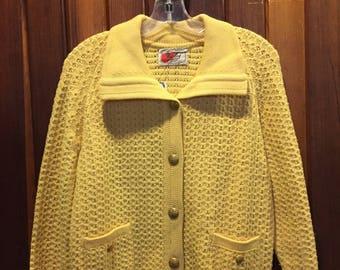 1950S // COZY CARDI // Harley Pure Wool Yellow Cardigan