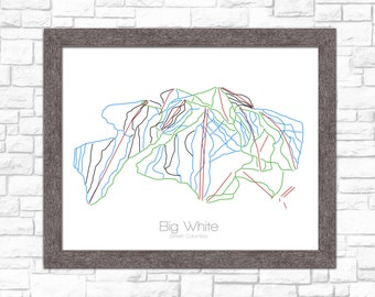 Big White Map British Columbia Canada CA BC Ski Snowboard Trail Art --- Print, Poster --- Gift, Present --- Resort, Mountain, Snow, Winter