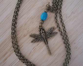 Handmade Brass Dragonfly and Natural Turquoise Necklace