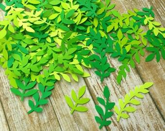 350 Ferns Paper Green Leaf punch 3 sizes die cuts, confetti scrapbook, mix die cuts, decorations, scrapbooking, weddings, confetti