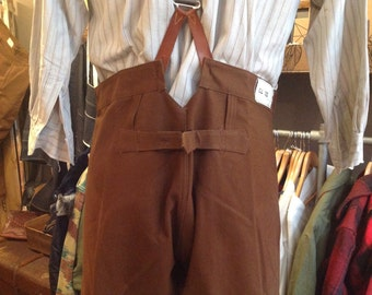 "Vintage 1950s 50s deadstock brown cotton canvas buckle back train drivers trousers pants workwear 38"" waist brace buttons chore"