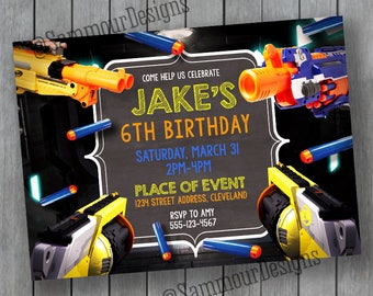 Nerf Party Invitation - Nerf Birthday - Nerf Wars Birthday - Nerf Invitation - Nerf Party