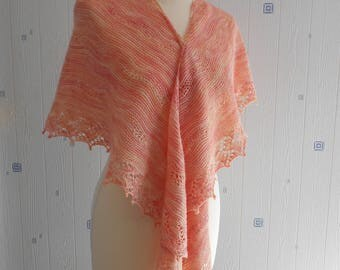 orange lace shawl, hand knitted, merino silk