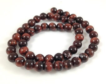 "8mm Red Tiger Eye Beads, Round Tiger Eyes Beads Natural Gemstones Beads, Approximately 51 pieces per 15.5"" strand"