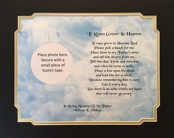 In Memory of Father, Sympathy Gifts, Memorial Day Gifts, Condolence Gifts, Roses Grow In Heaven, In Memory Gift, Religious Gift, Loss of Dad