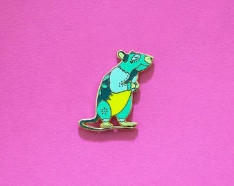 Rat Chinese Zodiac Pin with Rubber Clasp // Hard Enamel, Cloisonne, Accesories, Flair
