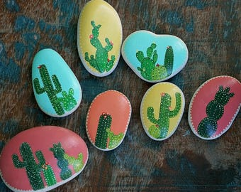 Hand Painted Rocks, Cactus Rock, Hand Painted, Painted Rock, Paper Weight, Desk Art