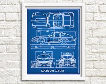 """Datsun 280Z Blueprint Decor, 280Z, Blueprint Art, Datsun 280Z, Instant Download, Datsun, Blueprints, Datsun Wall Art, 8x10, 11x14"""""""