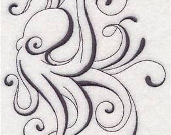 6 piece Set BATH towels - intricate ink octopus - any colors towel or stitching bathroom towels