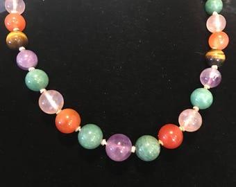 vintage semi-precious beaded necklace