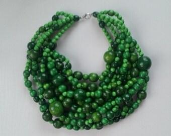 Green wooden bead necklace Bib necklace Ukrainian jewelry Ukrainian style Gift from Ukraine