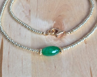sale Fancy GREEN AGATE NECKLACE jewelry gold glass seed beads green necklace gold necklace gold beads