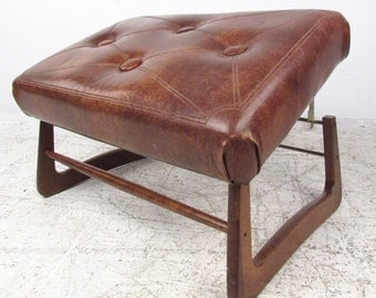 Mid-Century Modern Adjustable Foot Stool Ottoman (3420)JR