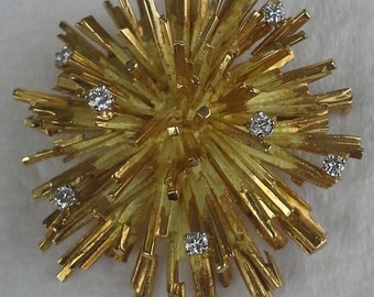 Antique french starburst brooch 18K yellow gold and diamonds