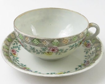 Vintage Porcelain Cup and Saucer with Geometric and Floral Garland Design, Hand Colored, Made in Japan