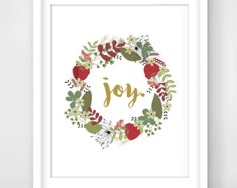 30% OFF SALE Christmas Decoration, Joy Wall Art, Holiday Prints, Christmas Printables, Christmas Prints, Holiday Decor, Floral Wreath Joy
