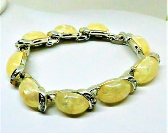 Yellow Bracelet - Vintage, Coro Signed, Silver Tone, Yellow Lucite Cabochons, Clear Rhinestones
