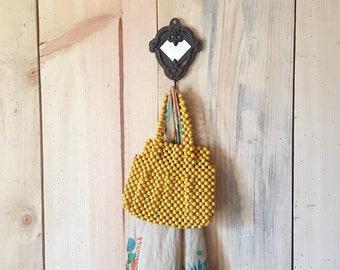1960s beaded purse | 60s vintage yellow summer handbag