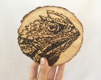 Horned Frog on reclaimed TCU tree slices