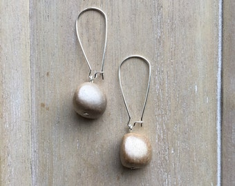 Long kidney earwires with freeform wooden bead