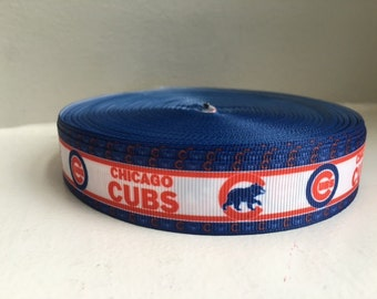 "1/3/5/7/10 Yards Chicago Cubs 7/8"" Grosgrain Ribbon"