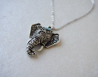 Elephant Necklace, Silver Turquoise Jewelry, Ethnic, Indian, Tribal, Animal, Adventure, Good Luck, Stability, Power, Strength, Wisdom, Gift